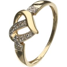 14 kt Yellow gold ring, set with brilliant cut diamonds of 0.045 ct in total - Ring size: 17.5 mm