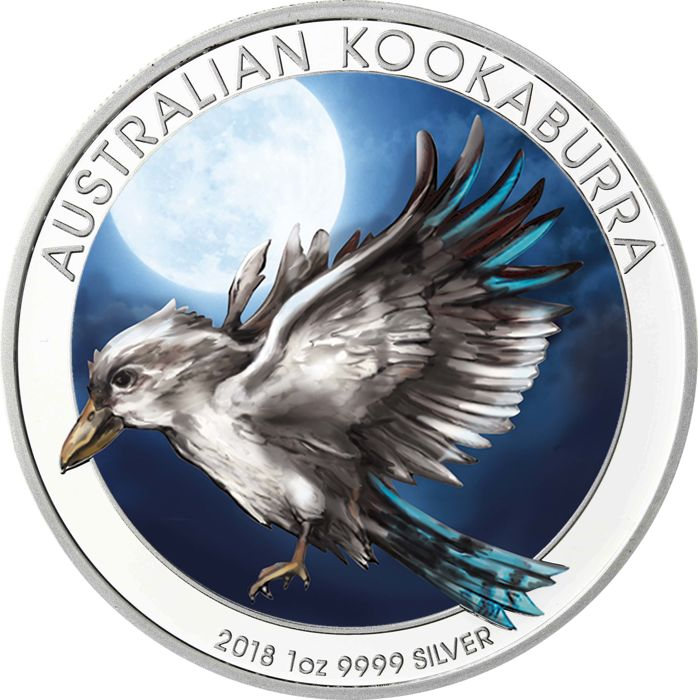 Australia - Dollar 2018 'Kookaburra' with colour - 1 oz silver