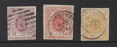 """Luxembourg 1859/1865 - Selection of stamps from the """"Municipal coat of arms"""" series - imperforate and perforated - Michel 9, 11 and 14"""
