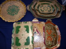 Collection of 7 Italian serving trays