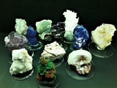 Excellent collection of 12 Greek samples of minerals - 1430 gm (12)