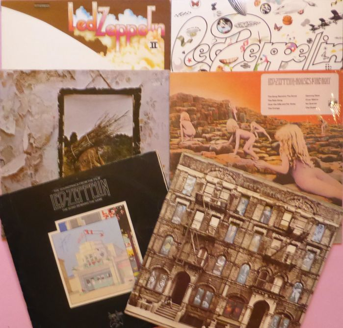 Lot of 6 Led Zeppelin albums including 2 doubles (8 lp's total); II, III, IV, Houses of The Holy, The Song Remains The Same (2), Physical Graffiti (2)