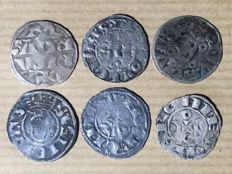 France – Lot of 6 feudal deniers from the 12th and 13th centuries – silver