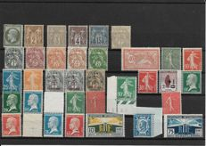 France 1930/1940 - Selection of stamps including Victory of Samothrace Yvert #354/355 and Legion triptych Yvert #565 and 566