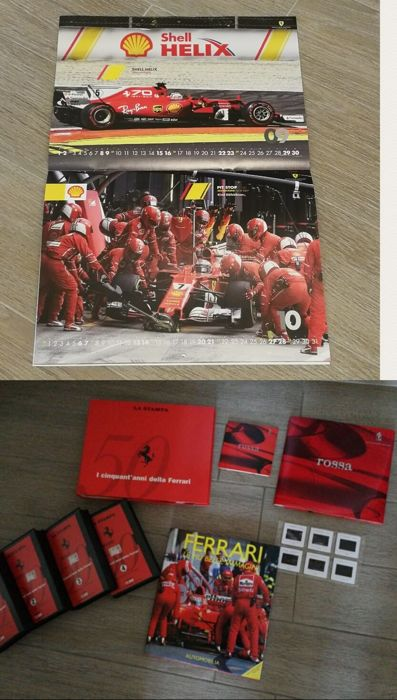 Ferrari - Large and rare collection of Ferrari 50-year anniversary - Pininfarina slides, CD and brochures (Italian/English) - No. 4 unpublished videotapes - 2018 Ferrari calendar