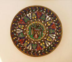 A bronze dish decorated with enamel from Asia Minor - Turkey - mid 20th century