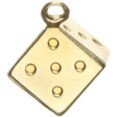 14 kt yellow gold pendant in the shape of a die. - length x width: 1.1 x 0.6 cm