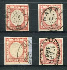 Naples 1861 - 4 specimens of the 5 grana stamp with different cancellations - Sass.  N°  21