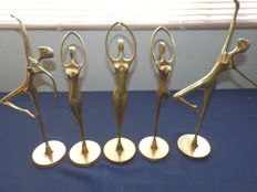Collection of 5 solid brass figurines of 5 female dancers