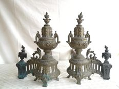 Pair of large bronze andirons in Louis XVI style, France, circa 1870