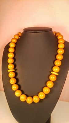 Vintage Egg yolk colour round beads Baltic Amber necklace, from Russia, Yantarny city