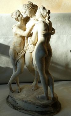White terracotta sculpture of the 3 graces - hand carved - Italy - 1920s