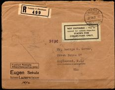 Switzerland - 3 recorded letters to the USA with combinations and tête-bêches