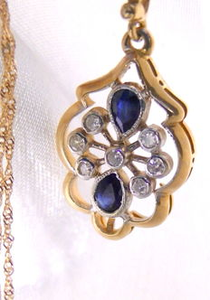 Sapphire diamond pendant 585 gold + necklace 585 gold