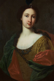 Italian school of the 17th century, atelier of  Massimo Stanzione - Portrait of a young lady dressed in an old-fashioned style and wearing an aigrette in her hair.