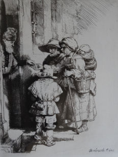 Armand Durand after Rembrandt Van Rijn -Beggars receiving alms at the door of a house - ca 1873