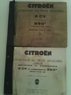 Citroen 2 c, traction, 2 original catalogues of spare parts