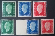 France 1942 - Complete series, Marianne de Dulac - Yvert no. 701A/701F