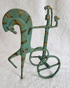 Green patinated metal sculpture, represents a warrior on a chariot out of Greek Antiquity