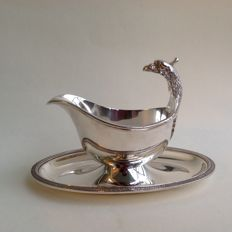 Silver plated sauce boat, model Malmaison Empire, Christofle, Paris, 20th century
