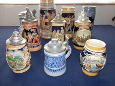 Collection of 10 beer steins in various sizes