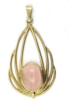 Pendant with rose quartz in 333 / 8KT yellow gold