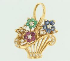 18 kt yellow gold flower basket brooch set with brilliant cut ruby, sapphire, emerald and diamond