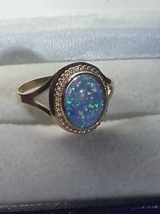 Beatiful 14k gold ring with 2ct fire opal, size 16.10mm/ 1.5g***No reserve