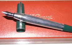 """Very Rare ST DUPONT """"Saint Germain"""" XL fountain pen silver plated gadroon new from 1980"""