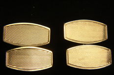 9 kt gold Art Deco cufflinks with silver.