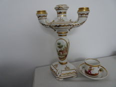 Porcelain candle holder and Cup and saucer