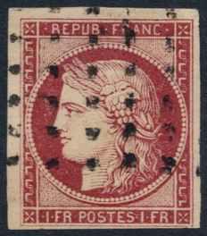 France 1849 - Ceres 1fr carmine, cancelled with LARGE DOTS - Certificate - Yvert no. 6