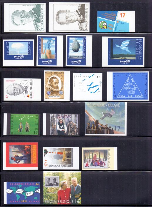 Belgium 1998/2000 - Collection of imperforate stamps with back numbers on black plastic sheets