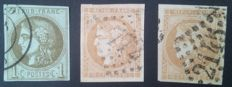 France 1870 - Bordeaux issue, selection of 3 stamps signed Calves with 1 digital certificate - Yvert n° 39C, 43A and 43B