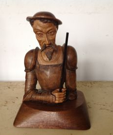 Book objects; Wooden bust of Don Quixote - 2nd half 20th century