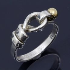 Tiffany & Co. Hook Eye Anillo de plata y oro - tamaño US 4,75