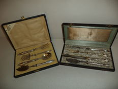Antique serving / cutlery 8-piece lightly silver plated 1800-1850