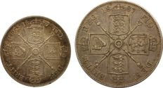 United Kingdom - Florin 1887 and Double Florin 1887 Victoria (2 coins) - silver