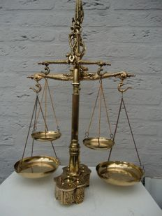 Unique dual Brass Balance scale with built-in weights.