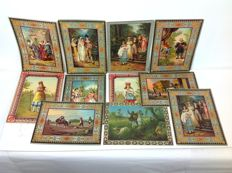 Large collection of 11 large-format antique romantic chromo lithographs with decorative border