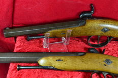 Belgium beautiful pair of duel percussion pistols, damask BARREL era 1840-1860
