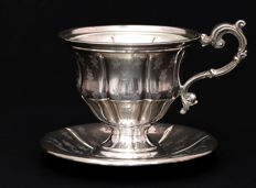 French Sterling Silver Chocolate Cup & Saucer, France XIX/XXc.