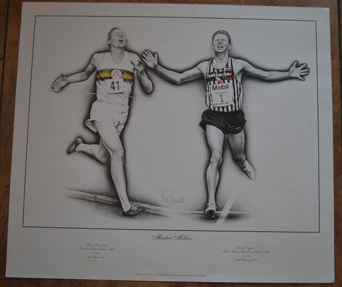 Middle Distace Track Runners  Roger Bannister (UK) and Eamonn Coghlan (Ireland) - Poster - 2004