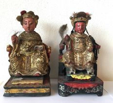 Gilt lacquer carved wood seated Emperor and Empress - China - Second half 20th century