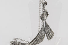 Silver (925) necklace with a large marcasite pendant / total weight 14 grams