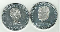 Bahamas - 10 Dollar 1978 (2 different ones) - silver
