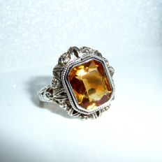 Art Deco ring in 925 silver, 4.5 ct natural citrine, Madeira colour, circa 1930, handmade, ring size 56-57