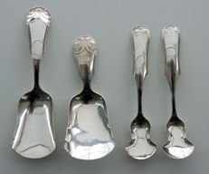 Set of a silver tea thimble, sugar spoon and condiment spoons, The Netherlands, 1845 and 1846