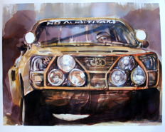 Audi 4 HB Team Rali Cars- Original Watercolor - 40 x 50 cm - By Gilberto Gaspar
