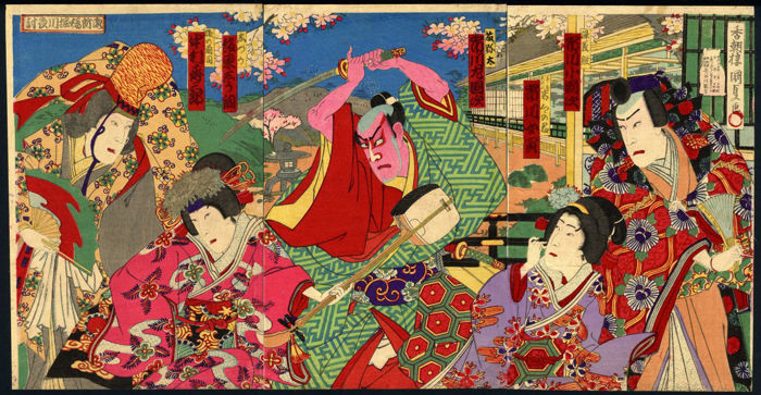 Original woodblock print triptych by Utagawa Kunisada III (1848–1920) - 'Kabuki play' - Japan - 1891